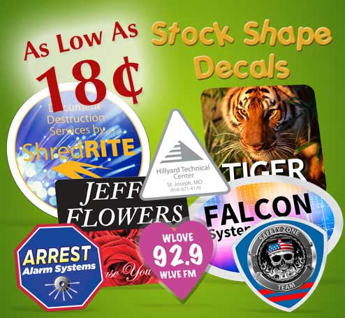 Stock Shape Decal Stickers